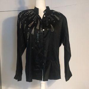 80'' vintage black silk  with beading-